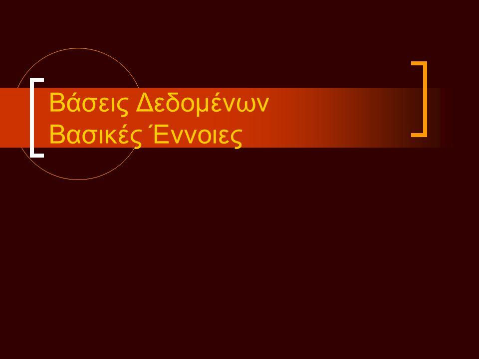 Οντότητες Οντότητα • (ένα αντικείμενο με φυσική ύπαρξη) • Κάθε οντότητα έχει συγκεκριμένες ιδιότητες - γνωρίσματα • Μια συγκεκριμένη οντότητα θα έχει μια τιμή για καθένα από τα γνωρίσματα Τύπος οντοτήτων • Ορίζει ένα σύνολο από οντότητες που έχουν τα ίδια γνωρίσματα • Περιγράφεται από ένα όνομα και μια λίστα γνωρισμάτων Περιγράφει το σχήμα ή πρόθεση Σύνολο οντοτήτων - ανάπτυξη
