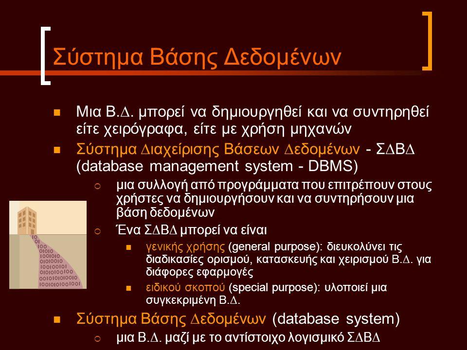 Σύστημα Βάσης Δεδομένων  Μια Β.∆. µπορεί να δηµιουργηθεί και να συντηρηθεί είτε χειρόγραφα, είτε µε χρήση µηχανών  Σύστηµα ∆ιαχείρισης Βάσεων ∆εδοµέ