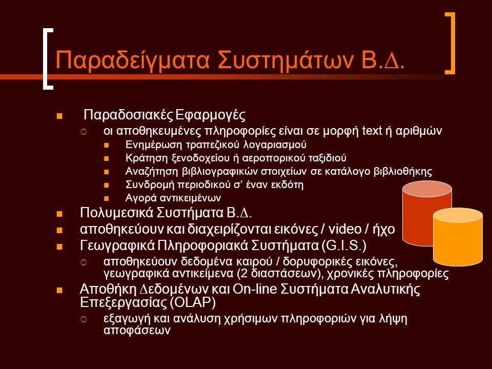 Παραδείγµατα Συστηµάτων Β.∆.  Παραδοσιακές Εφαρµογές  οι αποθηκευµένες πληροφορίες είναι σε µορφή text ή αριθµών  Ενηµέρωση τραπεζικού λογαριασµού