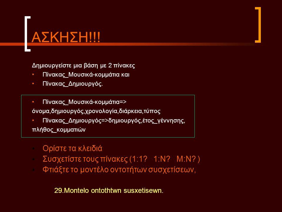 ΑΣΚΗΣΗ!!! Δημιουργείστε μια βάση με 2 πίνακες • Πίνακας_Μουσικά-κομμάτια και • Πίνακας_Δημιουργός. • Πίνακας_Μουσικά-κομμάτια=> όνομα,δημιουργός,χρονο
