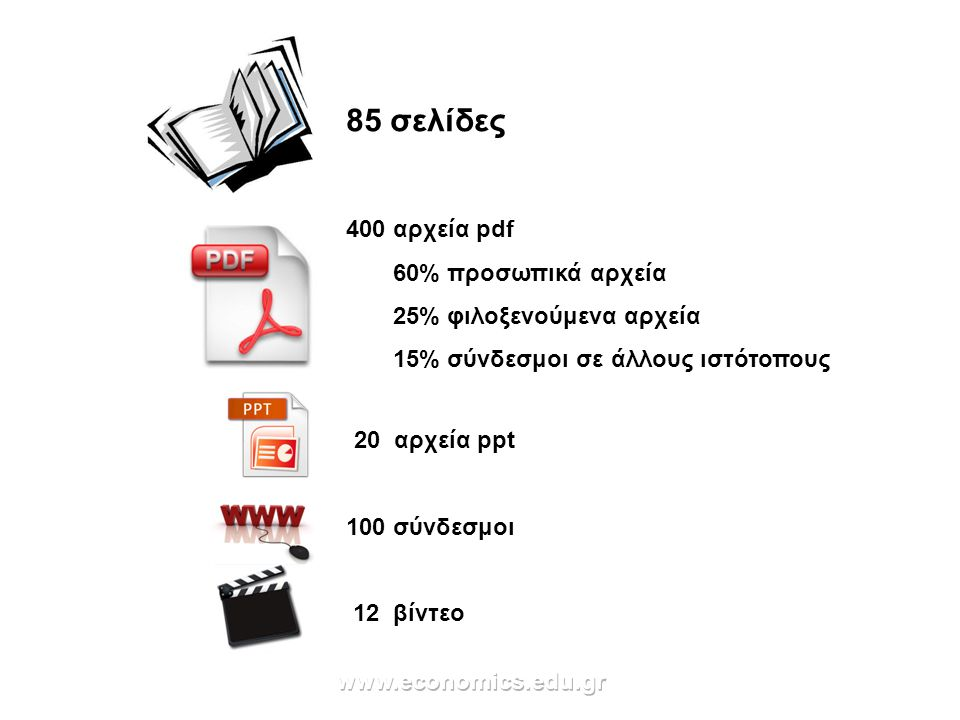 400 αρχεία pdf 60% προσωπικά αρχεία 25% φιλοξενούμενα αρχεία 15% σύνδεσμοι σε άλλους ιστότοπους 85 σελίδες 20 αρχεία ppt 100 σύνδεσμοι 12 βίντεο