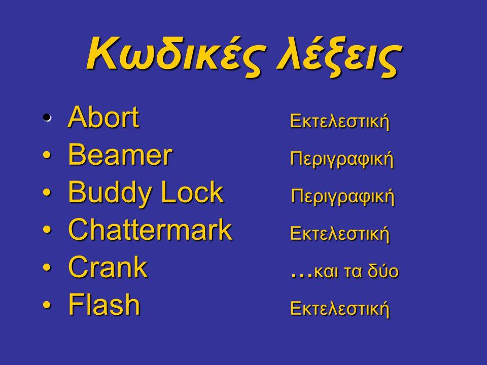 Κωδικές λέξεις • Abort Εκτελεστική • Beamer Περιγραφική • Buddy Lock Περιγραφική • Chattermark Εκτελεστική • Crank...