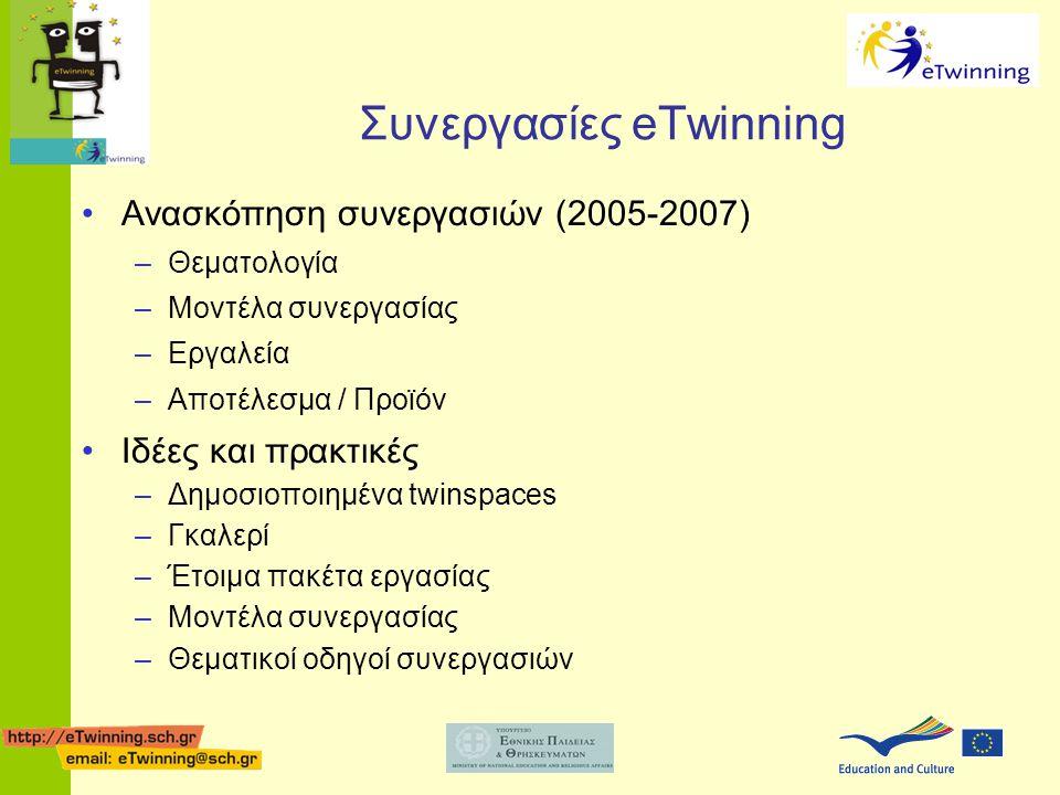 Συνεργασίες eTwinning •Ανασκόπηση συνεργασιών (2005-2007) –Θεματολογία –Μοντέλα συνεργασίας –Εργαλεία –Αποτέλεσμα / Προϊόν •Ιδέες και πρακτικές –Δημοσ