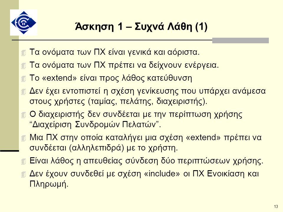 13 Άσκηση 1 – Συχνά Λάθη (1) 4 Τα ονόματα των ΠΧ είναι γενικά και αόριστα. 4 Tα ονόματα των ΠΧ πρέπει να δείχνουν ενέργεια. 4 To «extend» είναι προς λ