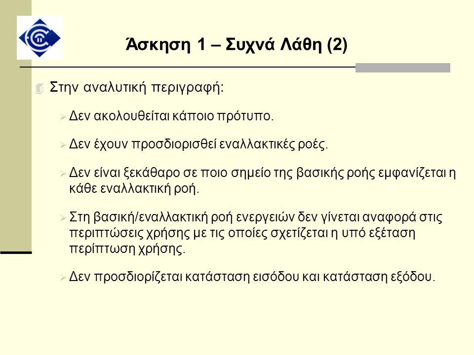 Άσκηση 1 – Συχνά Λάθη (2) 4 Στην αναλυτική περιγραφή:  Δεν ακολουθείται κάποιο πρότυπο.  Δεν έχουν προσδιορισθεί εναλλακτικές ροές.  Δεν είναι ξεκά