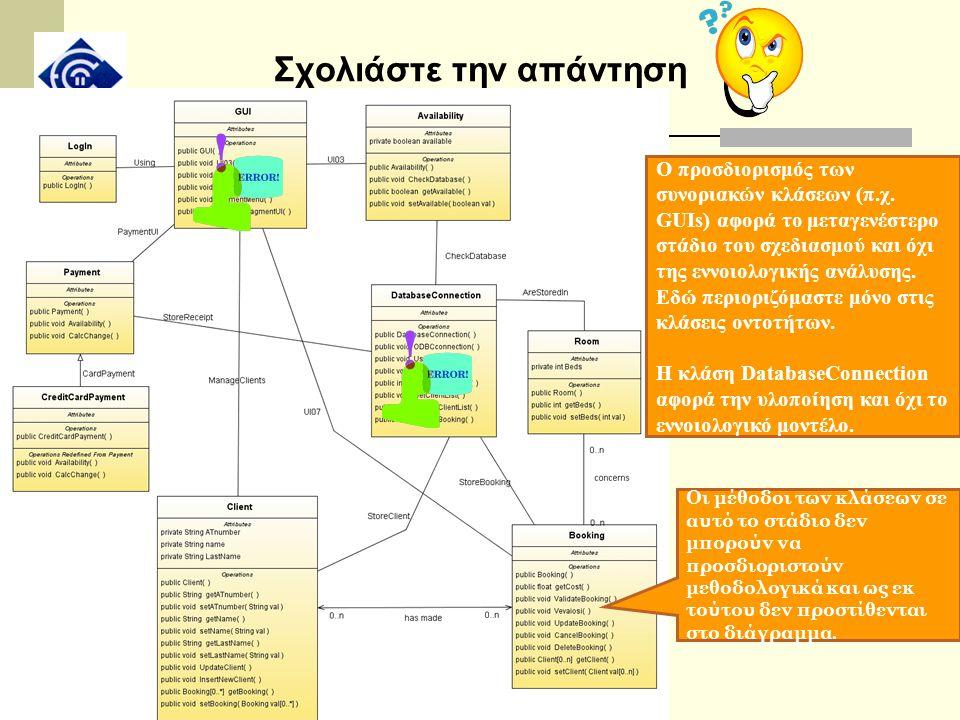 Σχολιάστε την απάντηση Ο προσδιορισμός των συνοριακών κλάσεων (π.χ. GUIs) αφορά το μεταγενέστερο στάδιο του σχεδιασμού και όχι της εννοιολογικής ανάλυ