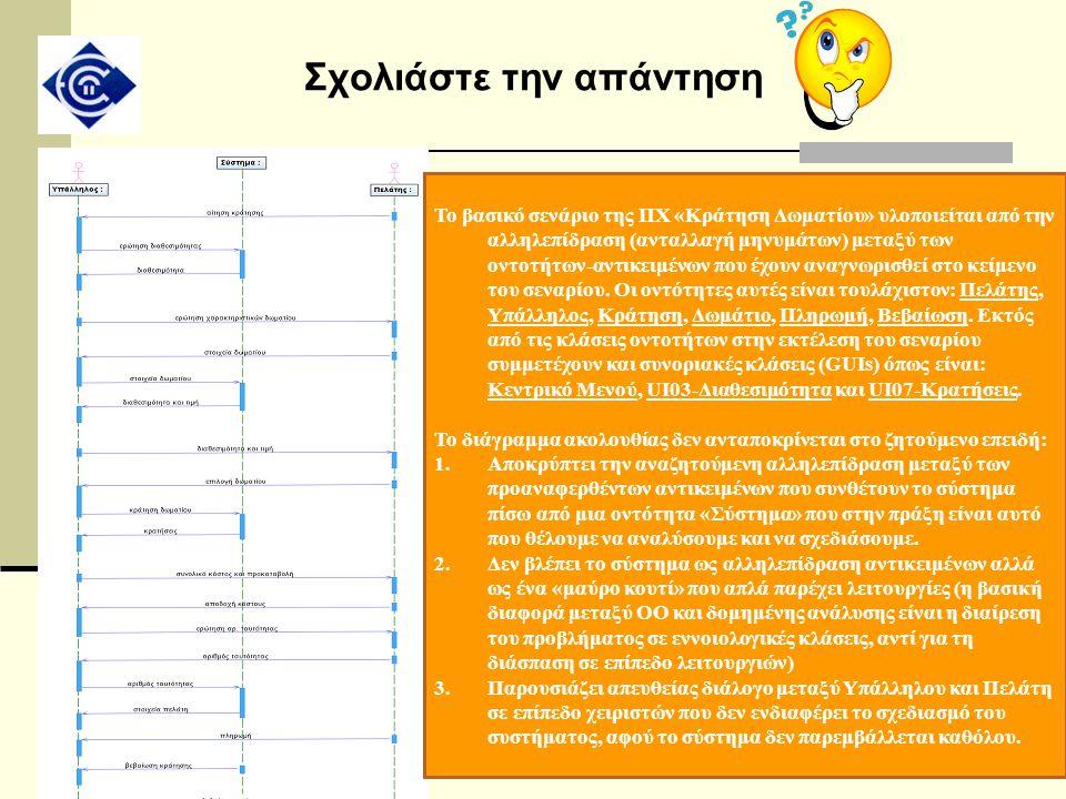 Σχολιάστε την απάντηση Το βασικό σενάριο της ΠΧ «Κράτηση Δωματίου» υλοποιείται από την αλληλεπίδραση (ανταλλαγή μηνυμάτων) μεταξύ των οντοτήτων-αντικε