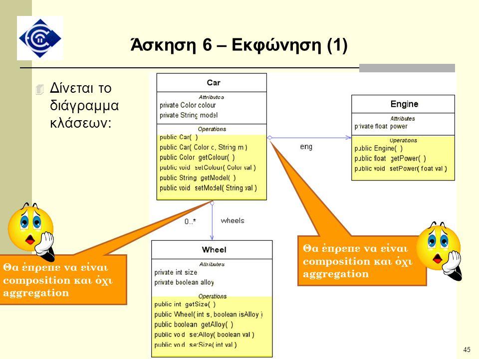 45 Άσκηση 6 – Εκφώνηση (1) 4 Δίνεται το διάγραμμα κλάσεων: Θα έπρεπε να είναι composition και όχι aggregation