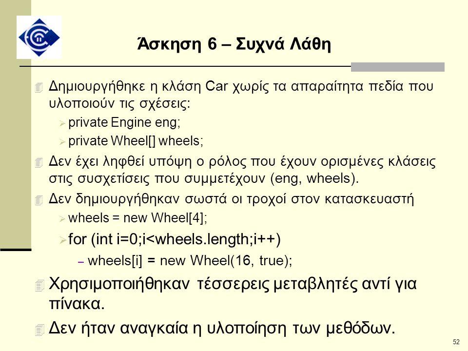 52 Άσκηση 6 – Συχνά Λάθη 4 Δημιουργήθηκε η κλάση Car χωρίς τα απαραίτητα πεδία που υλοποιούν τις σχέσεις:  private Engine eng;  private Wheel[] whee