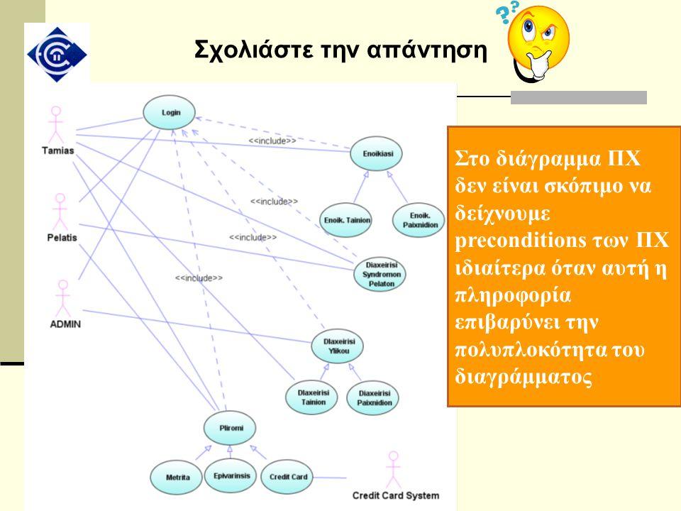 Σχολιάστε την απάντηση Στο διάγραμμα ΠΧ δεν είναι σκόπιμο να δείχνουμε preconditions των ΠΧ ιδιαίτερα όταν αυτή η πληροφορία επιβαρύνει την πολυπλοκότ