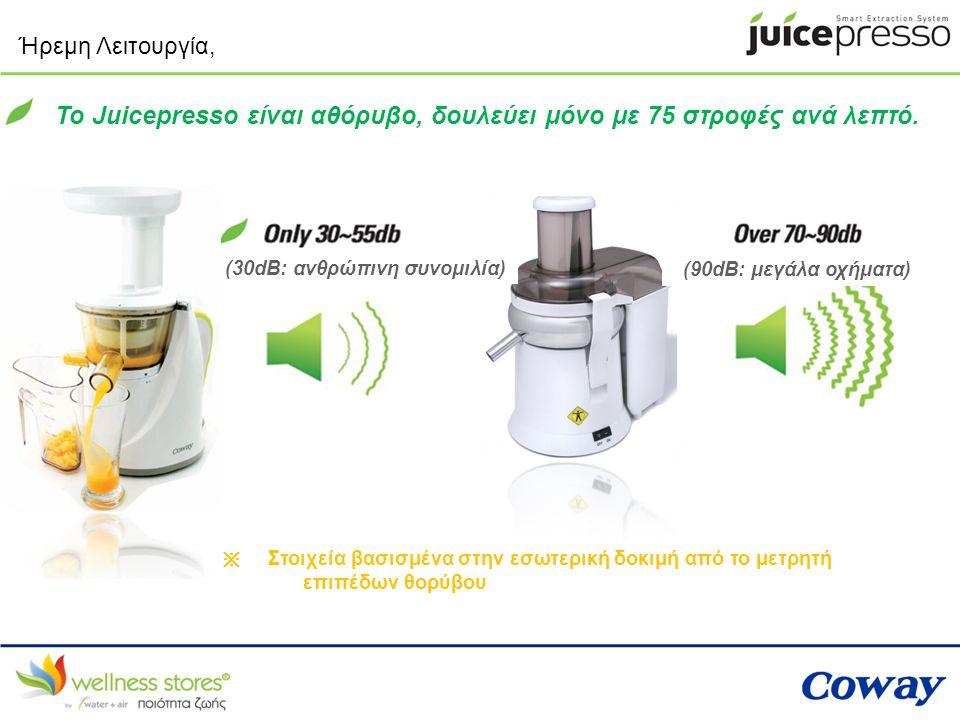 Ήρεμη Λειτουργία, Το Juicepresso είναι αθόρυβο, δουλεύει μόνο με 75 στροφές ανά λεπτό. (30dB: ανθρώπινη συνομιλία) (90dB: μεγάλα οχήματα) ※ Στοιχεία β