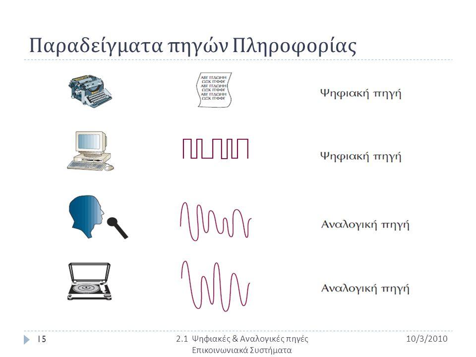 Παραδείγματα πηγών Πληροφορίας 10/3/2010 15 2.1 Ψηφιακές & Αναλογικές πηγές Επικοινωνιακά Συστήματα