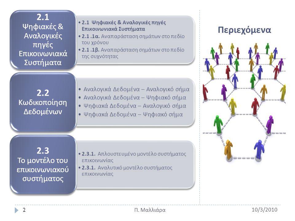 2.1 Ψηφιακές & Αναλογικές πηγές Επικοινωνιακά Συστήματα 2.1 Ψηφιακές & Αναλογικές πηγές - Επικοινωνιακά Συστήματα 2.1.1 α.