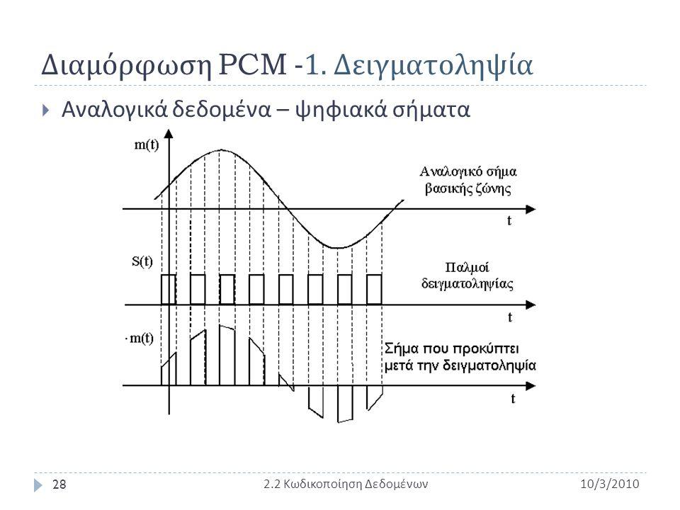 Διαμόρφωση PCM -1. Δειγματοληψία  Αναλογικά δεδομένα – ψηφιακά σήματα 10/3/2010 2.2 Κωδικοποίηση Δεδομένων 28