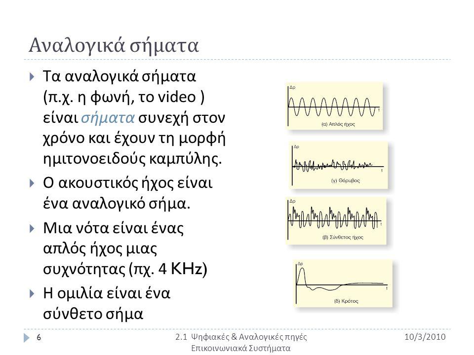 Αναλογικά σήματα  Τα αναλογικά σήματα ( π. χ. η φωνή, το video ) είναι σήματα συνεχή στον χρόνο και έχουν τη μορφή ημιτονοειδούς καμπύλης.  Ο ακουστ