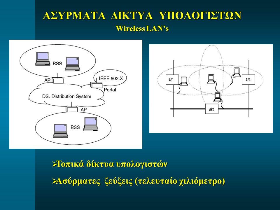 ΑΣΥΡΜΑΤΑ ΔΙΚΤΥΑ ΥΠΟΛΟΓΙΣΤΩΝ Wireless LAN's  Τοπικά δίκτυα υπολογιστών  Ασύρματες ζεύξεις (τελευταίο χιλιόμετρο)