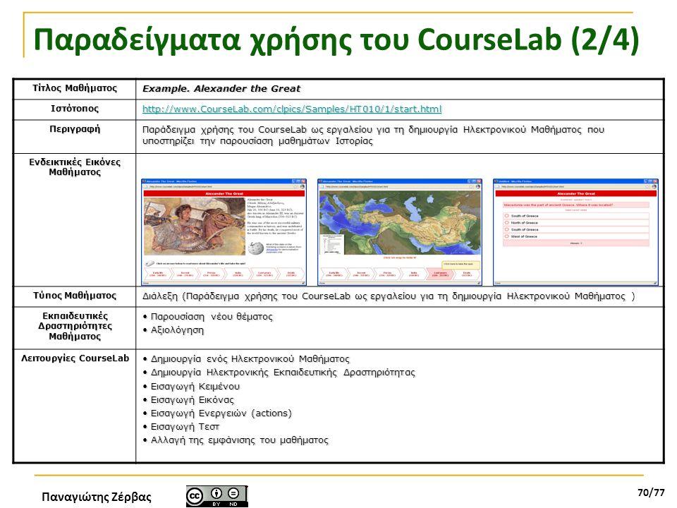 Παναγιώτης Ζέρβας 70/77 Παραδείγματα χρήσης του CourseLab (2/4) Τίτλος Μαθήματος Example. Alexander the Great Ιστότοπος http://www.CourseLab.com/clpic