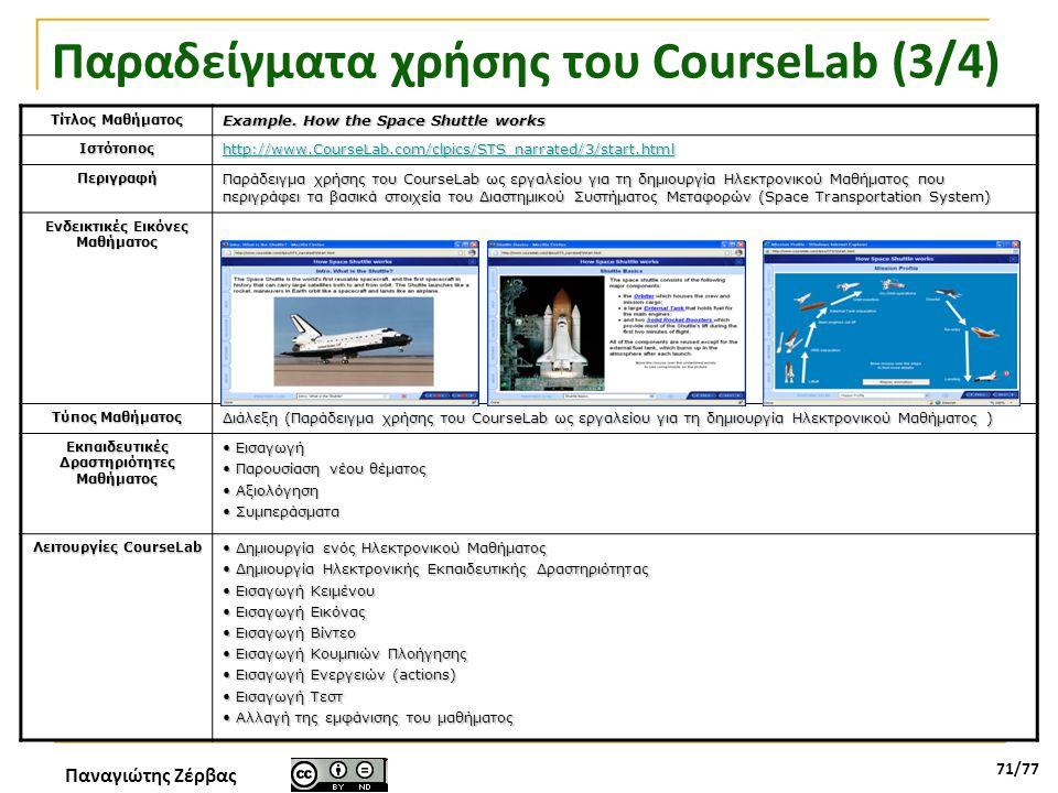Παναγιώτης Ζέρβας 71/77 Παραδείγματα χρήσης του CourseLab (3/4) Τίτλος Μαθήματος Example. How the Space Shuttle works Ιστότοπος http://www.CourseLab.c