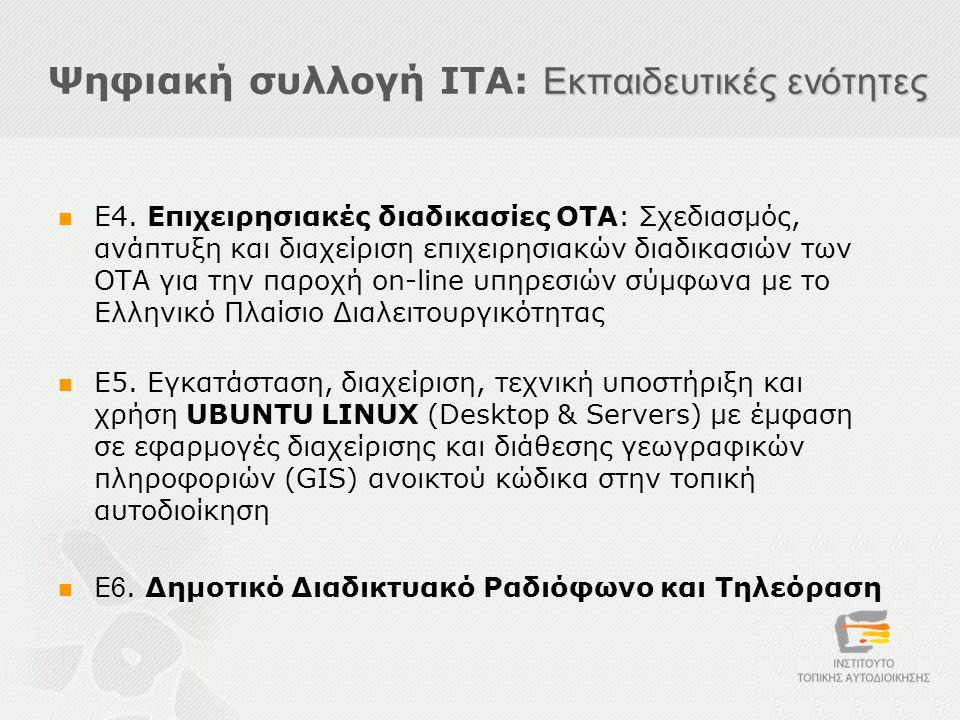 Εκπαιδευτικές ενότητες Ψηφιακή συλλογή ΙΤΑ: Εκπαιδευτικές ενότητες  Ε4.