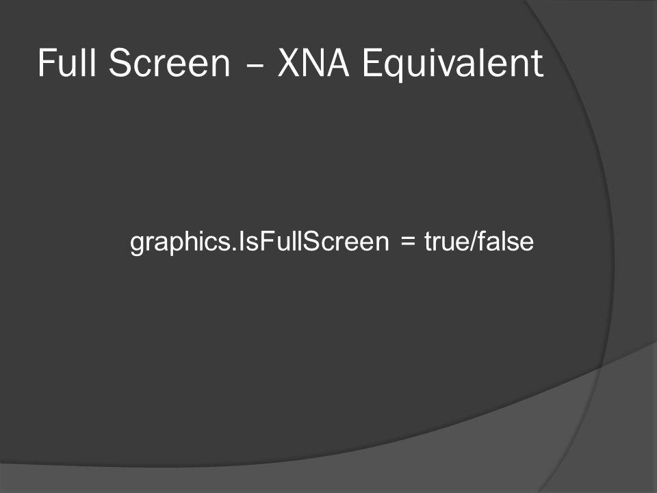 Full Screen – XNA Equivalent graphics.IsFullScreen = true/false