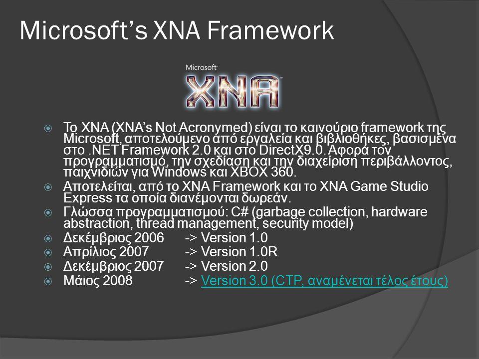  Το ΧΝΑ (XNA's Not Acronymed) είναι το καινούριο framework της Microsoft, αποτελούμενο από εργαλεία και βιβλιοθήκες, βασισμένα στο.NET Framework 2.0 και στο DirectX9.0.