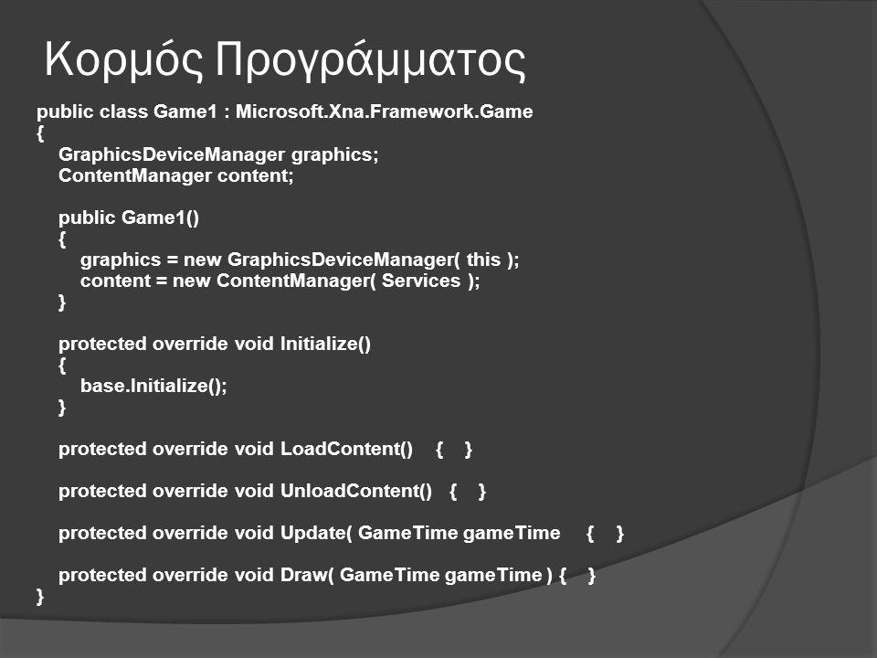 Κορμός Προγράμματος public class Game1 : Microsoft.Xna.Framework.Game { GraphicsDeviceManager graphics; ContentManager content; public Game1() { graphics = new GraphicsDeviceManager( this ); content = new ContentManager( Services ); } protected override void Initialize() { base.Initialize(); } protected override void LoadContent() { } protected override void UnloadContent() { } protected override void Update( GameTime gameTime { } protected override void Draw( GameTime gameTime ) { } }