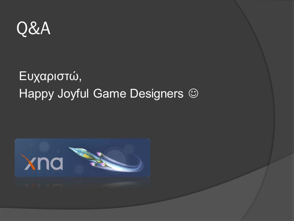 Q&A Ευχαριστώ, Happy Joyful Game Designers 