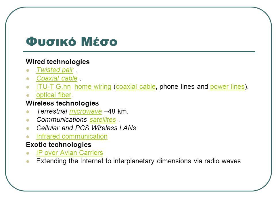 Φυσικό Μέσο Wired technologies  Twisted pair. Twisted pair  Coaxial cable. Coaxial cable  ITU-T G.hn home wiring (coaxial cable, phone lines and po