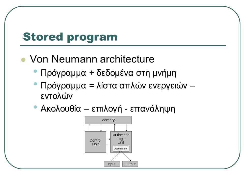 Stored program  Von Neumann architecture • Πρόγραμμα + δεδομένα στη μνήμη • Πρόγραμμα = λίστα απλών ενεργειών – εντολών • Ακολουθία – επιλογή - επανάληψη