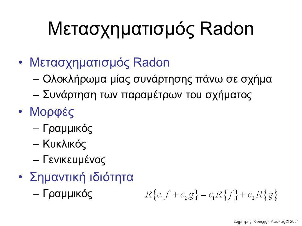 Δημήτρης Κουζής - Λουκάς © 2004 Μετασχηματισμός Radon •Μετασχηματισμός Radon –Ολοκλήρωμα μίας συνάρτησης πάνω σε σχήμα –Συνάρτηση των παραμέτρων του σ