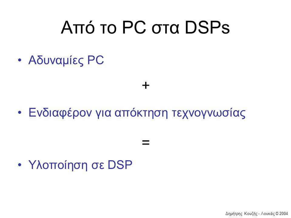 Δημήτρης Κουζής - Λουκάς © 2004 Από το PC στα DSPs •Αδυναμίες PC •Ενδιαφέρον για απόκτηση τεχνογνωσίας •Υλοποίηση σε DSP + =