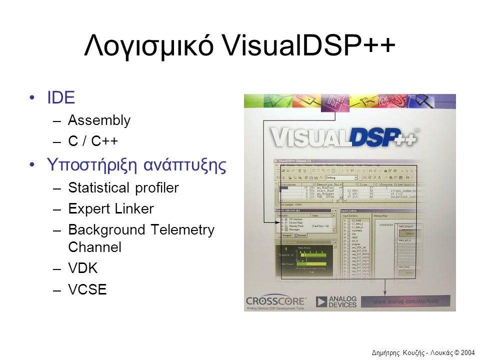Δημήτρης Κουζής - Λουκάς © 2004 Λογισμικό VisualDSP++ •IDE –Assembly –C / C++ •Υποστήριξη ανάπτυξης –Statistical profiler –Expert Linker –Background Telemetry Channel –VDK –VCSE