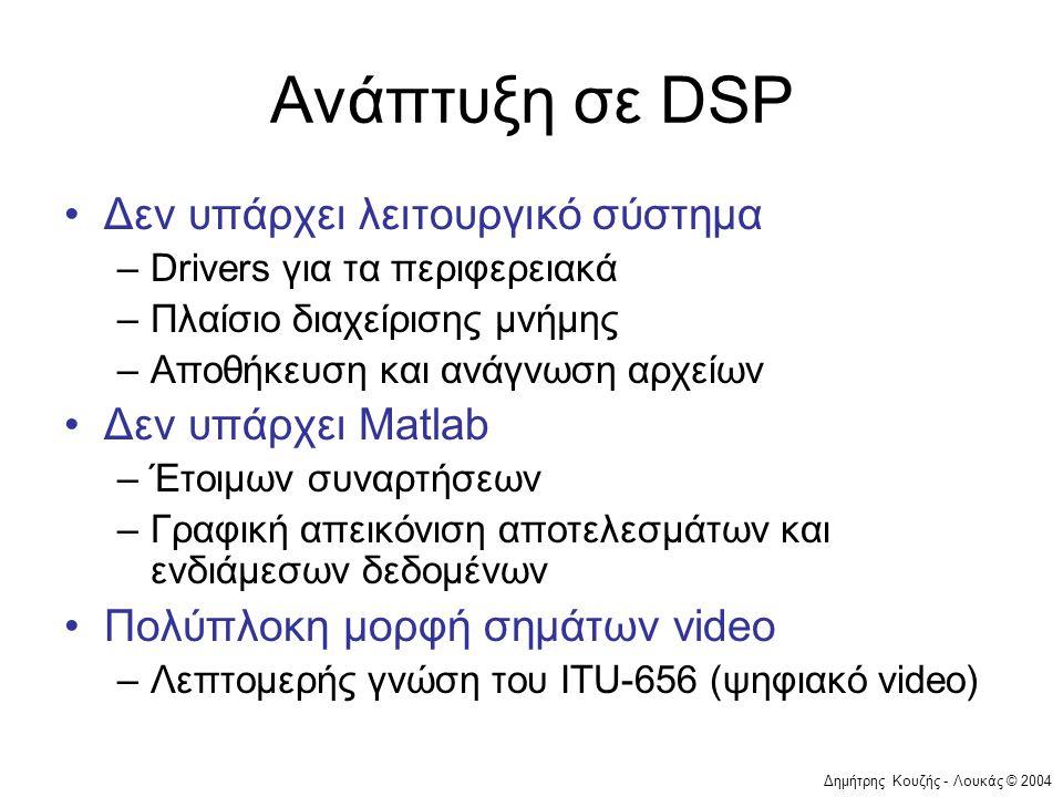 Δημήτρης Κουζής - Λουκάς © 2004 Ανάπτυξη σε DSP •Δεν υπάρχει λειτουργικό σύστημα –Drivers για τα περιφερειακά –Πλαίσιο διαχείρισης μνήμης –Αποθήκευση και ανάγνωση αρχείων •Δεν υπάρχει Matlab –Έτοιμων συναρτήσεων –Γραφική απεικόνιση αποτελεσμάτων και ενδιάμεσων δεδομένων •Πολύπλοκη μορφή σημάτων video –Λεπτομερής γνώση του ITU-656 (ψηφιακό video)