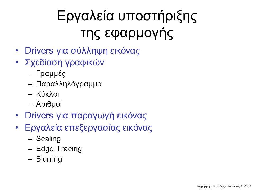 Δημήτρης Κουζής - Λουκάς © 2004 Εργαλεία υποστήριξης της εφαρμογής •Drivers για σύλληψη εικόνας •Σχεδίαση γραφικών –Γραμμές –Παραλληλόγραμμα –Κύκλοι –