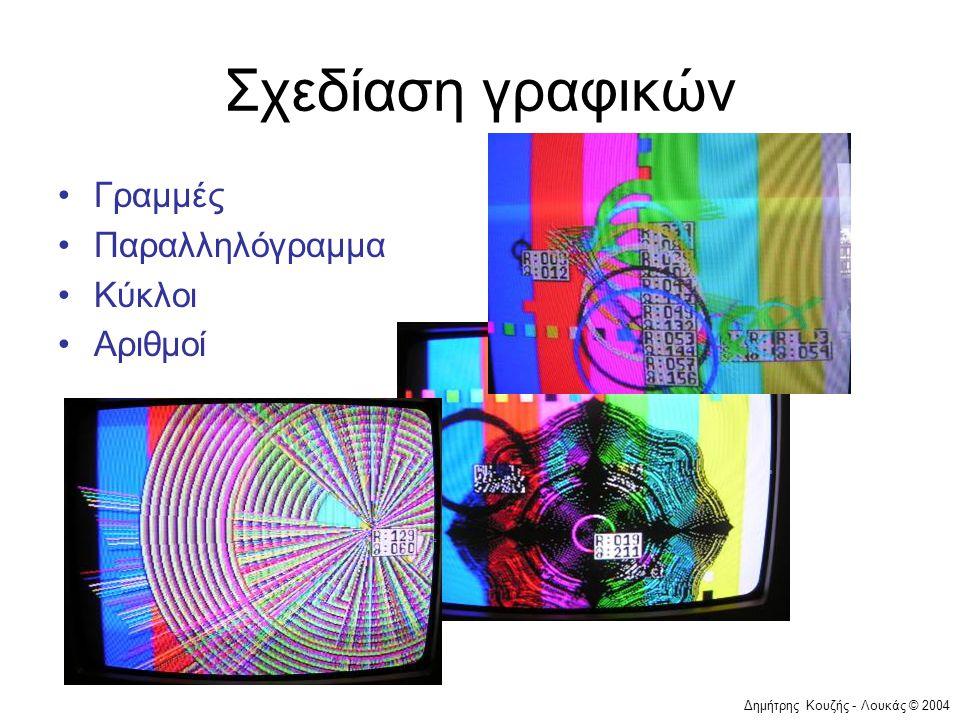 Δημήτρης Κουζής - Λουκάς © 2004 Σχεδίαση γραφικών •Γραμμές •Παραλληλόγραμμα •Κύκλοι •Αριθμοί