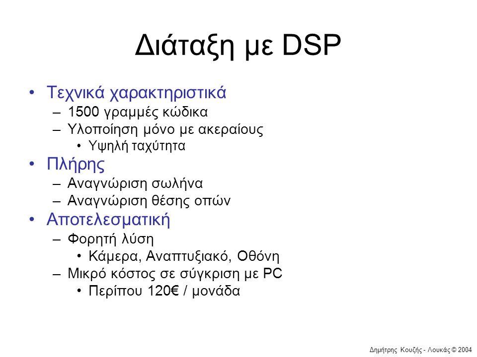 Δημήτρης Κουζής - Λουκάς © 2004 Διάταξη με DSP •Τεχνικά χαρακτηριστικά –1500 γραμμές κώδικα –Υλοποίηση μόνο με ακεραίους •Υψηλή ταχύτητα •Πλήρης –Αναγ