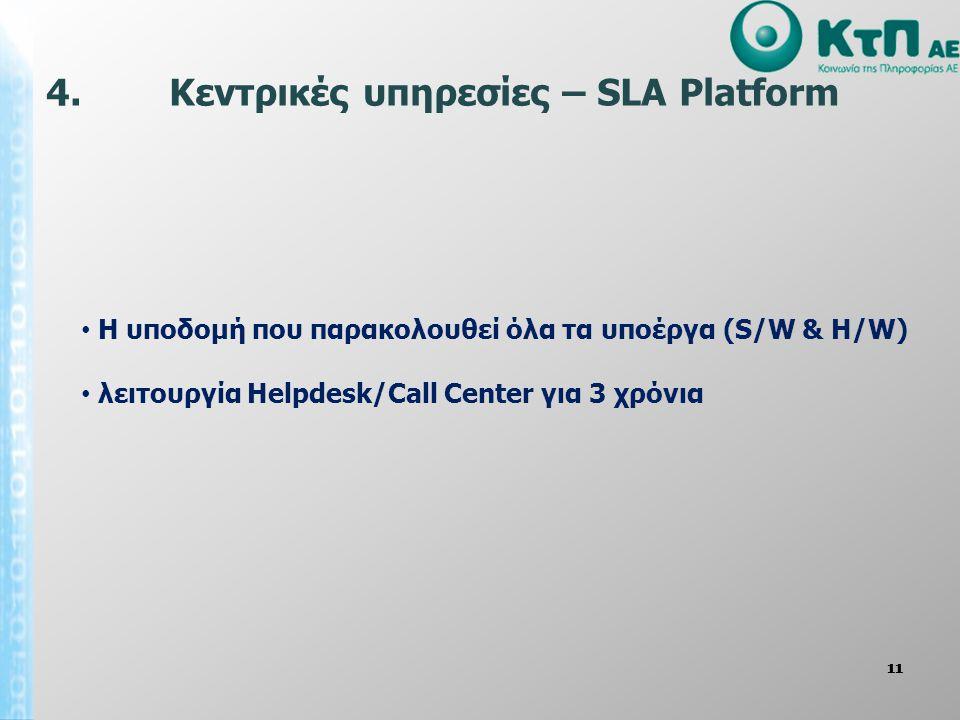 11 • Η υποδομή που παρακολουθεί όλα τα υποέργα (S/W & H/W) • λειτουργία Helpdesk/Call Center για 3 χρόνια 4. Κεντρικές υπηρεσίες – SLA Platform