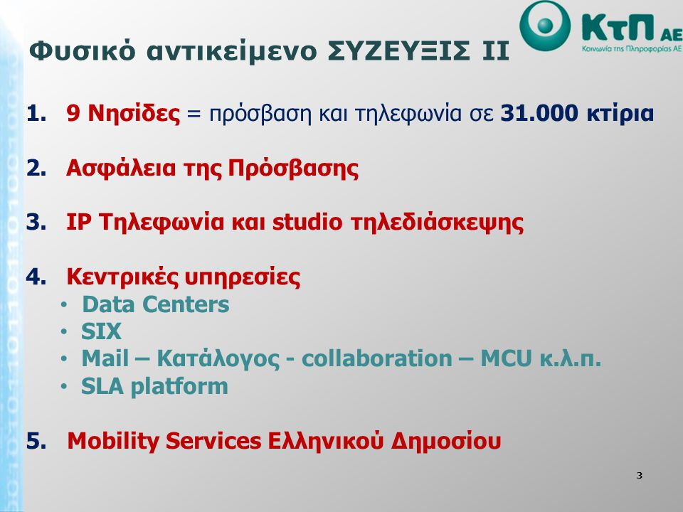 3 1. 9 Νησίδες = πρόσβαση και τηλεφωνία σε 31.000 κτίρια 2. Ασφάλεια της Πρόσβασης 3. IP Τηλεφωνία και studio τηλεδιάσκεψης 4. Κεντρικές υπηρεσίες • D