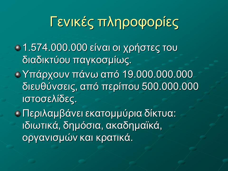 Γενικές πληροφορίες 1.574.000.000 είναι οι χρήστες του διαδικτύου παγκοσμίως.