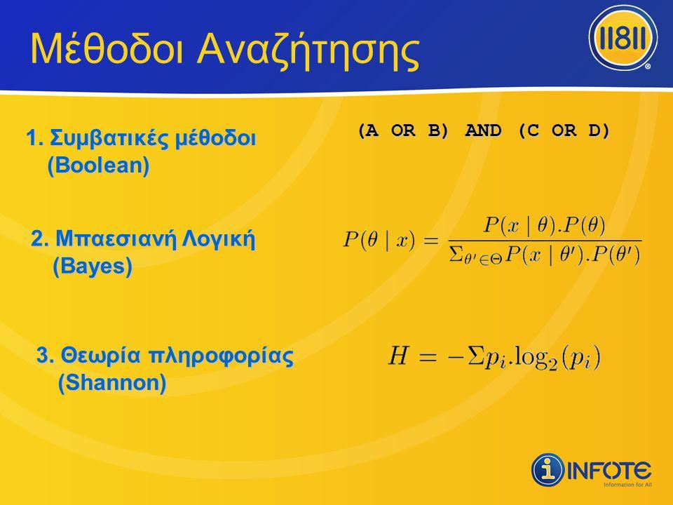 Μέθοδοι Αναζήτησης (A OR B) AND (C OR D) 1. Συμβατικές μέθοδοι (Boolean) 2. Μπαεσιανή Λογική (Bayes) 3. Θεωρία πληροφορίας (Shannon)