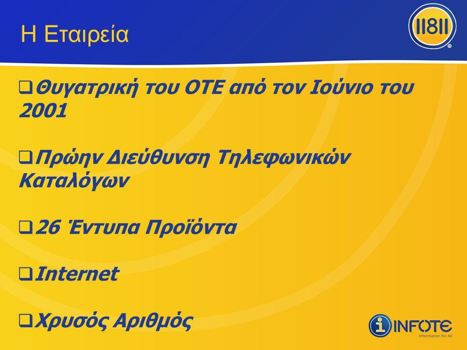Η Εταιρεία  Θυγατρική του ΟΤΕ από τον Ιούνιο του 2001  Πρώην Διεύθυνση Τηλεφωνικών Καταλόγων  26 Έντυπα Προϊόντα  Internet  Χρυσός Αριθμός