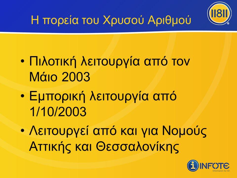 •Πιλοτική λειτουργία από τον Μάιο 2003 •Εμπορική λειτουργία από 1/10/2003 •Λειτουργεί από και για Νομούς Αττικής και Θεσσαλονίκης Η πορεία του Χρυσού