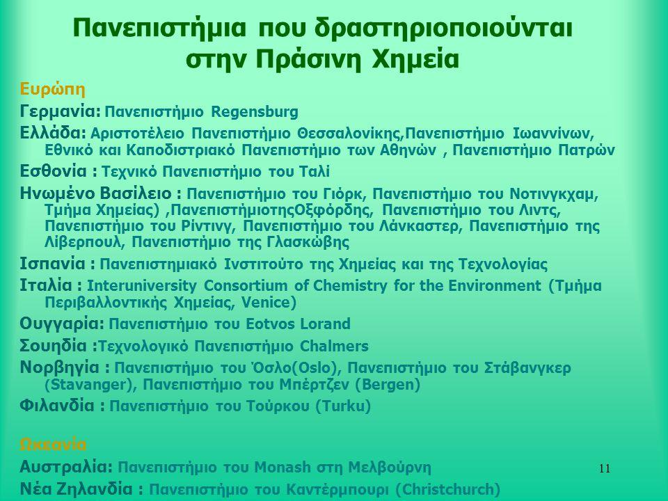 11 Πανεπιστήμια που δραστηριοποιούνται στην Πράσινη Χημεία Ευρώπη Γερμανία: Πανεπιστήμιο Regensburg Ελλάδα: Aριστοτέλειο Πανεπιστήμιο Θεσσαλονίκης,Πανεπιστήμιο Ιωαννίνων, Εθνικό και Καποδιστριακό Πανεπιστήμιο των Αθηνών, Πανεπιστήμιο Πατρών Εσθονία : Τεχνικό Πανεπιστήμιο του Ταλί Ηνωμένο Βασίλειο : Πανεπιστήμιο του Γιόρκ, Πανεπιστήμιο του Νοτινγκχαμ, Τμήμα Χημείας),ΠανεπιστήμιοτηςΟξφόρδης, Πανεπιστήμιο του Λιντς, Πανεπιστήμιο του Ρίντινγ, Πανεπιστήμιο του Λάνκαστερ, Πανεπιστήμιο της Λίβερπουλ, Πανεπιστήμιο της Γλασκώβης Ισπανία : Πανεπιστημιακό Ινστιτούτο της Χημείας και της Τεχνολογίας Ιταλία : Interuniversity Consortium of Chemistry for the Environment (Τμήμα Περιβαλλοντικής Χημείας, Venice) Ουγγαρία: Πανεπιστήμιο του Eotvos Lorand Σουηδία : Τεχνολογικό Πανεπιστήμιο Chalmers Νορβηγία : Πανεπιστήμιο του Όσλο(Oslo), Πανεπιστήμιο του Στάβανγκερ ( Stavanger), Πανεπιστήμιο του Μπέρτζεν (Bergen) Φιλανδία : Πανεπιστήμιο του Τούρκου (Turku) Ωκεανία Αυστραλία: Πανεπιστήμιο του Monash στη Μελβούρνη Νέα Ζηλανδία : Πανεπιστήμιο του Καντέρμπoυρι (Christchurch)