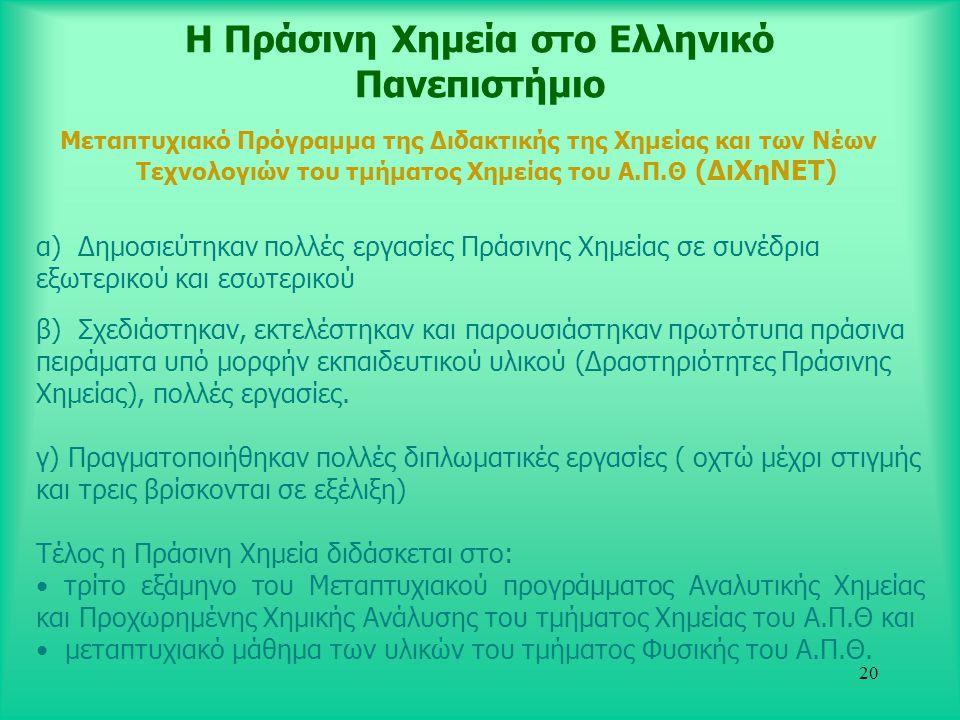20 Η Πράσινη Χημεία στο Ελληνικό Πανεπιστήμιο Μεταπτυχιακό Πρόγραμμα της Διδακτικής της Χημείας και των Νέων Τεχνολογιών του τμήματος Χημείας του Α.Π.