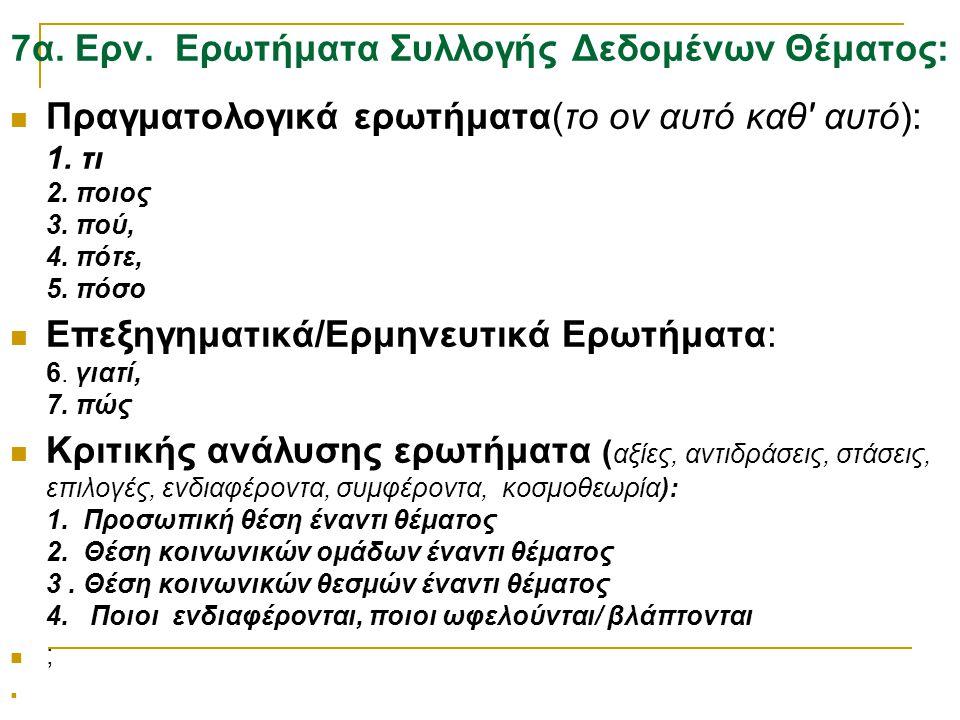 7α. Ερν. Ερωτήματα Συλλογής Δεδομένων Θέματος:  Πραγματολογικά ερωτήματα(το ον αυτό καθ' αυτό): 1. τι 2. ποιος 3. πού, 4. πότε, 5. πόσο  Επεξηγηματι