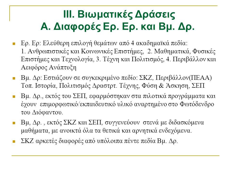  Ερ. Ερ: Ελεύθερη επιλογή θεμάτων από 4 ακαδημαϊκά πεδία: 1. Ανθρωπιστικές και Κοινωνικές Επιστήμες, 2. Μαθηματικά, Φυσικές Επιστήμες και Τεχνολογία,