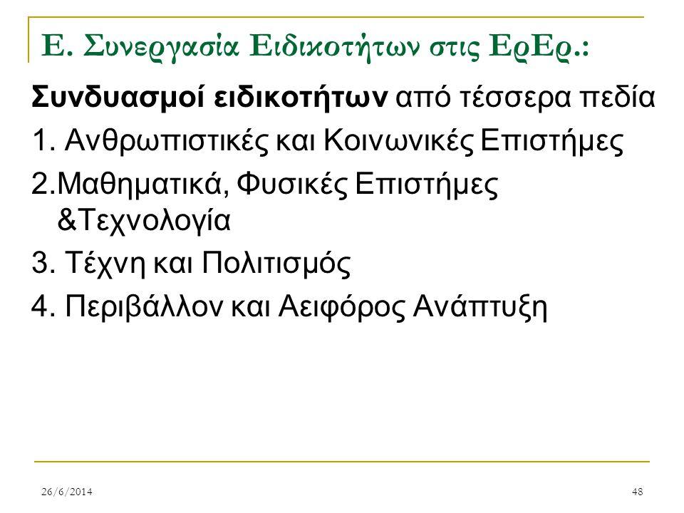 Ε. Συνεργασία Ειδικοτήτων στις ΕρΕρ.: Συνδυασμοί ειδικοτήτων από τέσσερα πεδία 1. Ανθρωπιστικές και Κοινωνικές Επιστήμες 2.Μαθηματικά, Φυσικές Επιστήμ