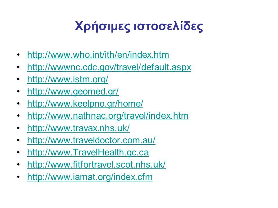 Χρήσιμες ιστοσελίδες •http://www.who.int/ith/en/index.htmhttp://www.who.int/ith/en/index.htm •http://wwwnc.cdc.gov/travel/default.aspxhttp://wwwnc.cdc.gov/travel/default.aspx •http://www.istm.org/http://www.istm.org/ •http://www.geomed.gr/http://www.geomed.gr/ •http://www.keelpno.gr/home/http://www.keelpno.gr/home/ •http://www.nathnac.org/travel/index.htmhttp://www.nathnac.org/travel/index.htm •http://www.travax.nhs.uk/http://www.travax.nhs.uk/ •http://www.traveldoctor.com.au/http://www.traveldoctor.com.au/ •http://www.TravelHealth.gc.cahttp://www.TravelHealth.gc.ca •http://www.fitfortravel.scot.nhs.uk/http://www.fitfortravel.scot.nhs.uk/ •http://www.iamat.org/index.cfmhttp://www.iamat.org/index.cfm