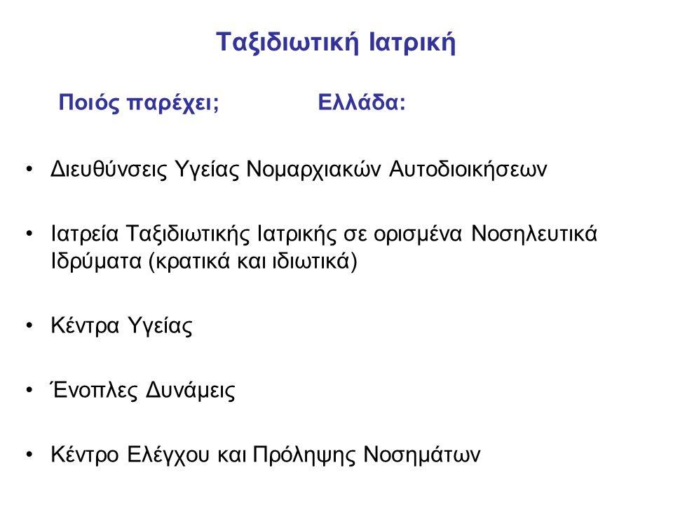 Ταξιδιωτική Ιατρική Ποιός παρέχει; Ελλάδα: •Διευθύνσεις Υγείας Νομαρχιακών Αυτοδιοικήσεων •Ιατρεία Ταξιδιωτικής Ιατρικής σε ορισμένα Νοσηλευτικά Ιδρύματα (κρατικά και ιδιωτικά) •Κέντρα Υγείας •Ένοπλες Δυνάμεις •Κέντρο Ελέγχου και Πρόληψης Νοσημάτων