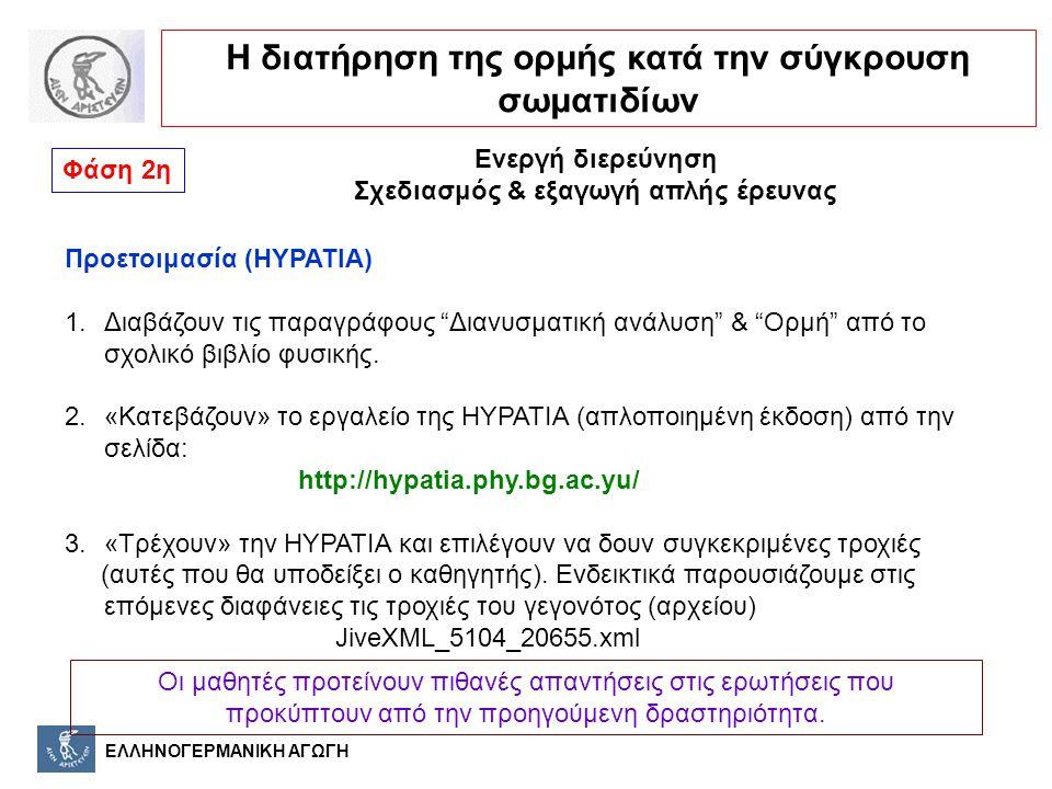 """ΕΛΛΗΝΟΓΕΡΜΑΝΙΚΗ ΑΓΩΓΗ Φάση 2η Ενεργή διερεύνηση Σχεδιασμός & εξαγωγή απλής έρευνας Προετοιμασία (HYPATIA) 1.Διαβάζουν τις παραγράφους """"Διανυσματική αν"""